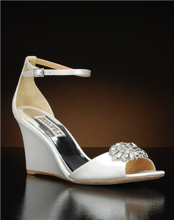 Ankle strap wedge with toe embellishment