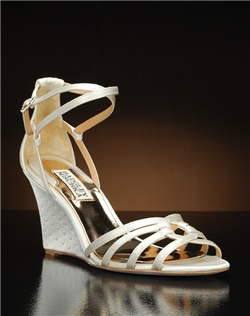Strappy textured wedge with ankle strap
