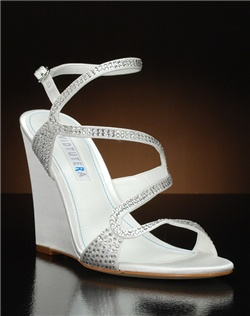 Open toe strappy wedge heel with crystal embellishment