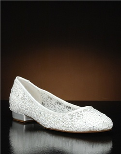 Lace ballet flat with crystal accents