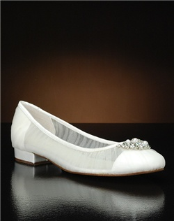 Mesh flat with crystal and pearl embellishment