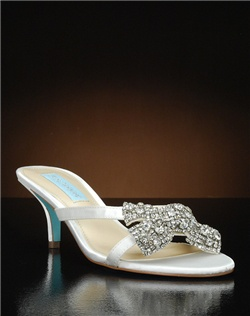 Open toe low heel with crystal bow embellishment