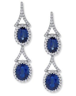 This classic set of earrings named for Lauren Bacall, contains 134 round diamonds, 0.64ctw and 4 kyanite ovals weighing over 5 carats, set in 18K white gold.