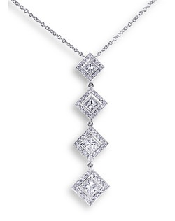 This stunning drop pendant contains four princess cut diamonds weigh over 0.5cTW as well as another 0.3cTW of small diamonds, set in 14K white gold.