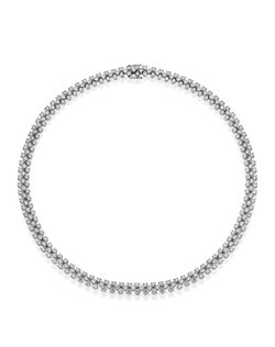 Elegance personified. This could describe silver screen actress Veronica Lake or this stunning diamond necklace. It is set with 273 diamonds weighing a total of 21.42 carats, set in 18K white gold.