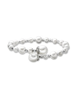 Lustrous cultured pearls in an array of sizes alternate with round textured sterling silver beads in this remarkable bracelet for her. The bracelet is 7.5-inches long.