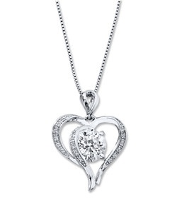 Swirls of sterling silver decorated in round lab-created white sapphires form a lovely heart in this delightful necklace for her. A round lab-created white sapphire glimmers at the center for added allure. The pendant sways from an 18-inch box chain secured with a lobster clasp.