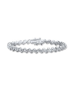 Swirls of sterling silver nestle lab-created white sapphires in this charming bracelet for her. This fine jewelry bracelet is secured with a tongue clasp.