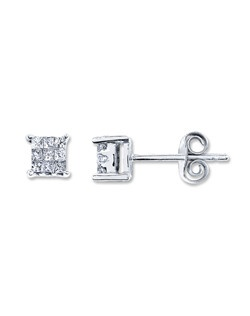 Nine princess-cut diamonds sparkle in perfect harmony in each of these elegant earrings for her. Set in 10K white gold, the earrings have a total diamond weight of 1/5 carat and are secured with friction backs.