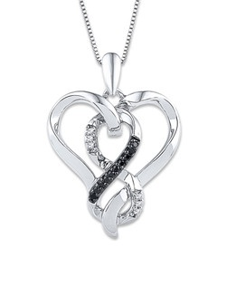 Swirls of sterling silver trace a heart surrounding an infinity symbol defined in white diamonds and Artistry Black Diamonds™ in this elegant necklace for her. The pendant sways from an 18-inch box chain secured with a lobster clasp. The total diamond weight is 1/10 carat. Artistry Black Diamonds™ are treated to permanently create the intense black color.