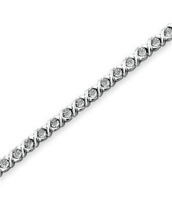 Sterling silver and brilliant round diamonds create picturesque style in this elegant 7.5-inch bracelet for her. Secured by a lobster clasp, this fine jewelry bracelet features a total diamond weight of 1/3 carat.
