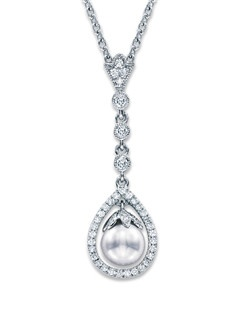 Jewelry designs from Neil Lane embody Hollywood's glamorous era while celebrating contemporary beauty. Here, a lustrous freshwater cultured pearl is suspended in a teardrop of brilliant round diamonds in this diamond necklace for her. Additional diamonds crown the center and sparkle above. The pendant, from the Neil Lane Designs® collection, has a total diamond weight of 1/5 carat and is styled in sterling silver. The cable chain is adjustable from 17 to 19 inches in length and is secured with a lobster clasp.