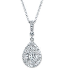 Contemporary in style while reminiscent of vintage glamour, designs by Neil Lane are truly timeless. Here, brilliant round diamonds decorate a teardrop of 14K white gold. Additional diamonds sparkle above. The diamond pendant, from the Neil Lane Designs® collection, has a total diamond weight of 1/2 carat and is crafted in 14K white gold. The cable chain is adjustable from 17 to 19 inches in length and is secured with a lobster clasp.