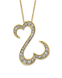 Irresistible Open Hearts by Jane Seymour® design of 14K yellow gold is decorated in dazzling round diamonds to create this lovely necklace for her. This fine jewelry necklace has a total diamond weight of 1 carat and includes an 18-inch cable chain that has a 2-inch extender for versatility and fastens with a lobster clasp.