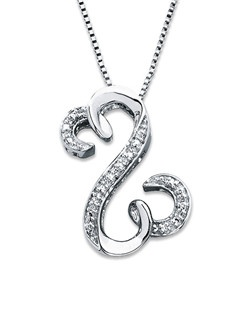 A row of round diamonds decorates the center and either end of the iconic Open Hearts by Jane Seymour® design in this unforgettable necklace for her. Styled in sterling silver, this brilliant designer jewelry is suspended from an 18-inch box chain and is secured with a lobster clasp.
