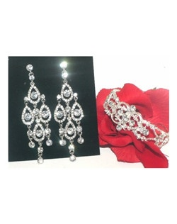 Enza - Elegant Bridal chandelier earrings and bracelet set