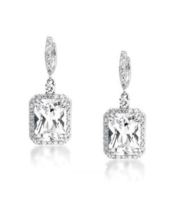 Elegant designer CZ emerald cut earrings