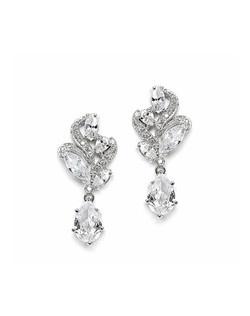 Desert - Beautiful antique silver CZ wedding earrings