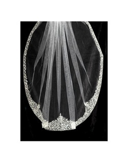 Queen Mary Dramatic crystal edge wedding veil