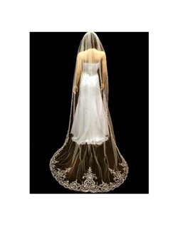 Emiliana - Dramatic royal beaded cathedral wedding veil