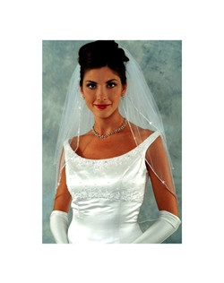 Ansonia beauty two tier Swarovski rhinestone edge wedding veil