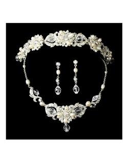 MariaElena - Vintage creamy pearl headband set