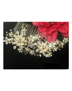 Jasmine - Gorgeous gold ivory rum beaded pearl wedding comb