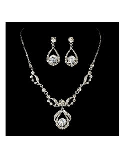 Couture Rhinestone Marquise Necklace Earring Set