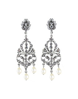 "Add a touch of old world charm to your wedding with these vintage inspired earrings.  A sophisticated combination of Swarovski crystals and pearls are perfec to top off your bridal look. Designed in New York by Regina B.  Select from type of drop: Crystal, Ivory Freshwater Pearl or Diamond White Freshwater Pearl. Available as post or clip on.                                      Length: 2 7/8"" (pearl drop) or 3 1/8"" (crystal drop)