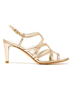 "Mid-heel evening sandal with delicate crisscrossing straps and an adjustable buckle to achieve the perfect fit. Strappy yet simple, this dressy wearable sandal solves all of your ""what-should-I-wear-with-this-dress"" conundrums. Add a silk or metallic clutch for maximum head-turning power."