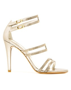 Ankle wrap evening sandal with light Colorado stones
