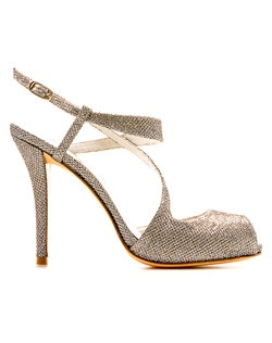 Strappy peep-toe evening sandal in metallic platinum noir with a gold buckle