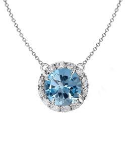 Handmade diamond swirl embracing center blue topaz.  Price excludes center stone