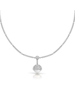 Pearl and diamond pendant in 18k white gold.  Price excludes center stone