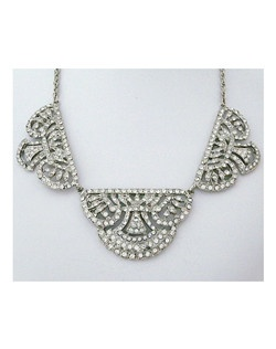 deco style necklace,rhodium plated,clear