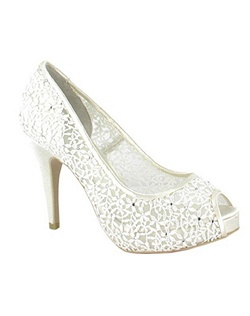 "Romantic lace is what the Halte By Menbur is all about. The simple platform peep toe pump design allows the beautiful lace and rhinestone accents shine through. The heel measures 4"" with a 1/2 platform front. Available in Ivory."