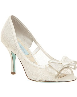 Fabric or satin upper, round open toe evening pump with bow, 3-3/4 heel, man made signature blue sole