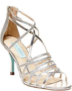 Glitter fabric upper, open toe, zipper detail and stilleto heel