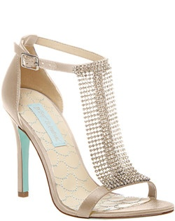 Satin upper with crystal trim, Round toe evening sandal with mesh rhinestone accents, adjustable ankle strap