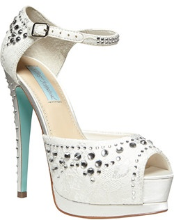 Satin upper/textile and synthetic lining/synthetic sole, scattered crystals, 5' heel with 2' platform