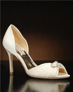 Chiffon overlay peep toe embellished d'orsay