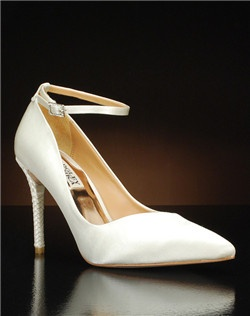 Pointed toe woven heel ankle strap pump
