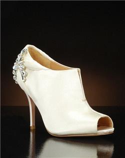 Peep toe bridal bootie with heel embellishement