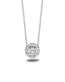 """Platinum Pendant with .12tw Small Diamond Accent Stones GHVSI and 1-.47 Round Diamond Center Stone GHSI1 with Platinum Cable Chain 18"""""""
