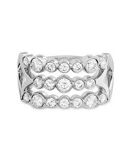 Hearts On Fire Copley platinum and diamond bezel right hand ring.