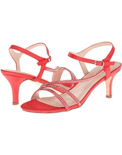 "Satin strappy kitten heel with stones. Heel: 2 1/2""."