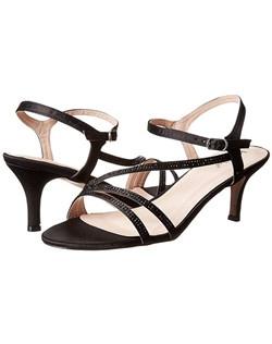 "Satin strappy kitten heel with stones. Heel: 2 1/2""."