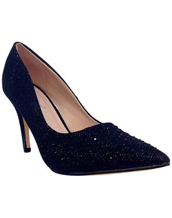 "Almond toe glitter pump. Heel: 3 3/4""."