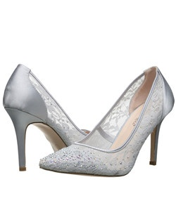 "Pointed toe pump satin backed heel with lace and stones. Heel: 3 3/4""."