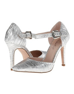 """Rouched fabric pointed toe ankle strap sandal. Heel: 3 3/4""""."""